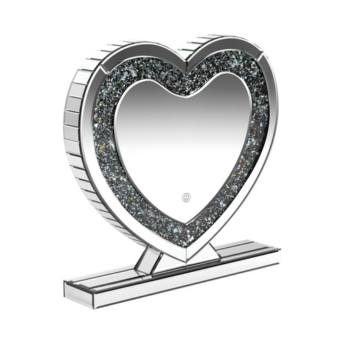 Heart Shape Table Mirror Silver