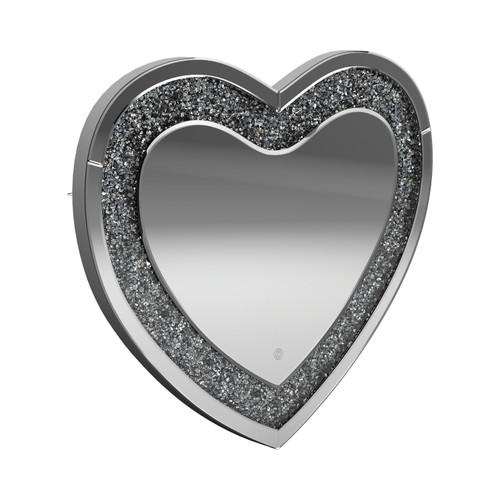 Heart Shape Wall Mirror Silver