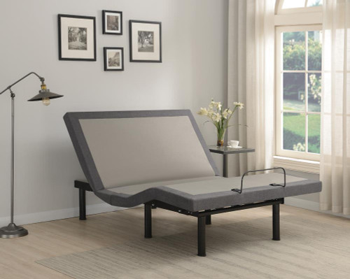 Negan Eastern King Adjustable Bed Base Grey And Black