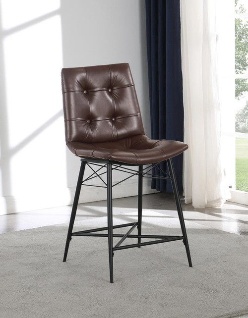 Brown - Upholstered Tufted Counter Height Stools Brown (Set of 2)