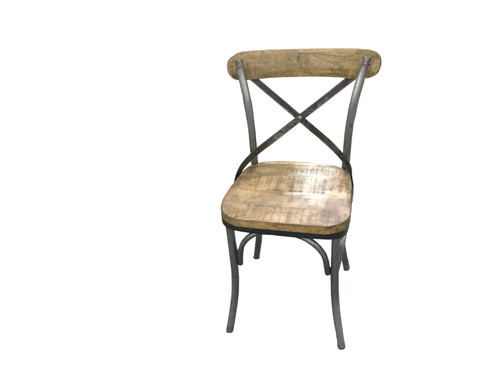 Barrett Cross Back Side Chairs Natural And Gunmetal (Set of 2)