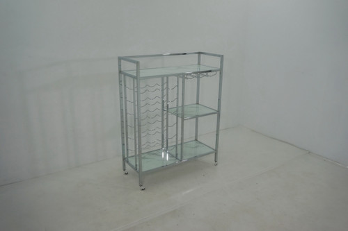 Glass Shelf Serving Cart With Casters Chrome