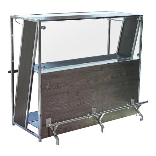 2-shelf Bar Unit With Footrest Dark Oak