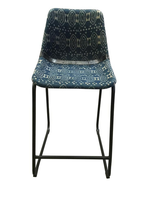 Blue Canvas - Rinconia Counter Height Stools With Footrest Blue And Matte Black (Set of 2)