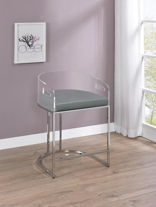 Grey - Acrylic Back Counter Height Stools Grey And Chrome (Set of 2)
