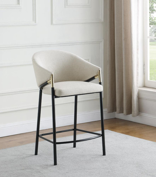 Beige - Sloped Arm Counter Height Stools Beige And Glossy Black (Set of 2)
