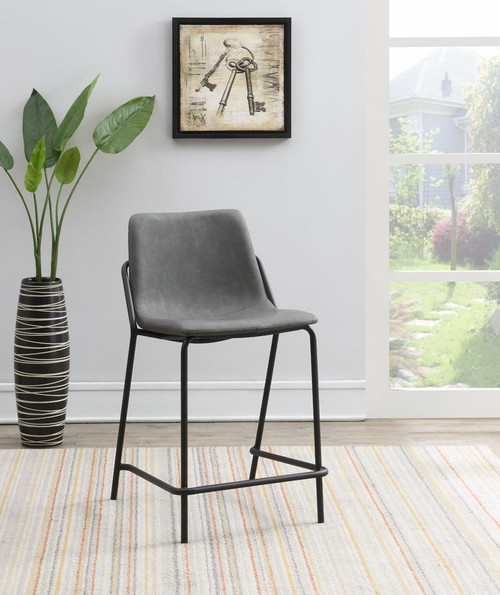 Grey - Solid Back Upholstered Counter Height Stools Grey And Black (Set of 2)