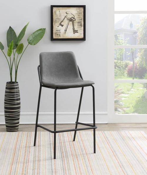 Grey - Solid Back Upholstered Bar Stools Grey And Black (Set of 2)