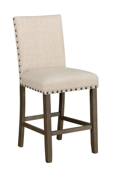 Beige - Upholstered Counter Height Stools With Nailhead Trim Beige (Set of 2)