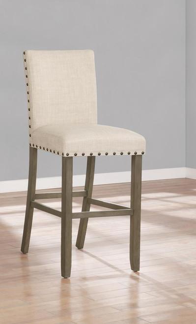 Beige - Upholstered Bar Stools With Nailhead Trim Beige (Set of 2)