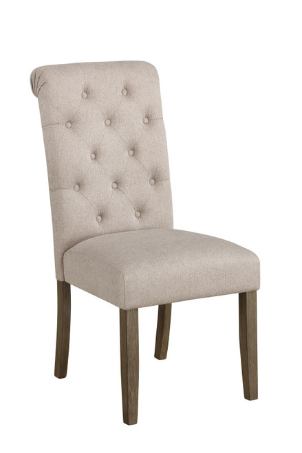 Beige - Calandra Tufted Back Side Chairs Rustic Brown And Beige (Set of 2)