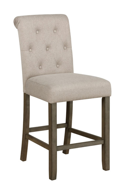 Beige - Tufted Back Counter Height Stools Beige And Rustic Brown (Set of 2)
