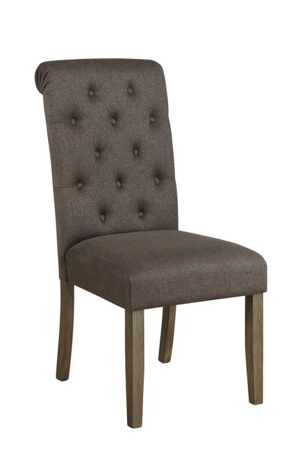 Grey - Calandra Tufted Back Side Chairs Rustic Brown And Grey (Set of 2)