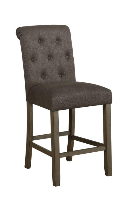 Grey - Tufted Back Counter Height Stools Grey And Rustic Brown (Set of 2)