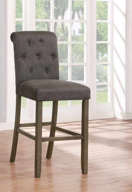 Grey - Tufted Back Bar Stools Grey And Rustic Brown (Set of 2)