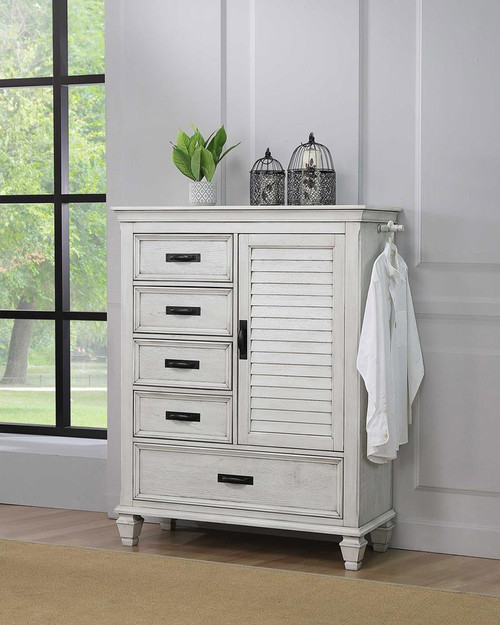 Franco Collection - Franco 5-drawer Man's Chest Antique White