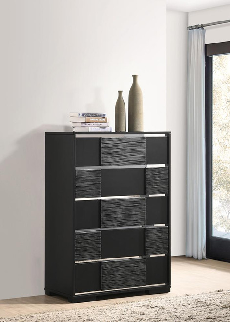 Blacktoft Collection - Blacktoft 5-drawer Chest Black