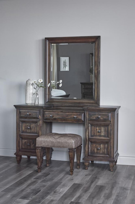 Avenue Collection - Avenue 3-drawer Vanity Desk Weathered Burnished Brown