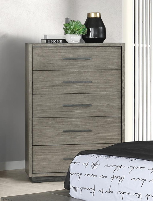 Derbyshire Collectio - Derbyshire 5-drawer Chest Grey Oak