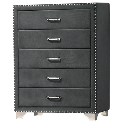 Grey - Melody 5-drawer Upholstered Chest Grey