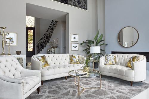 Champagne - Avonlea Upholstered Sloped Arm Loveseat Off White