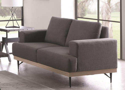 Charcoal - Kester Recessed Track Arm Loveseat Charcoal