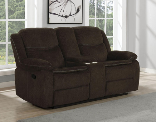 Brown - Jennings Upholstered Motion Loveseat With Console Brown
