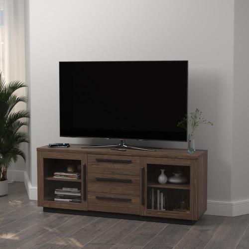 2-door Tv Console Aged Walnut