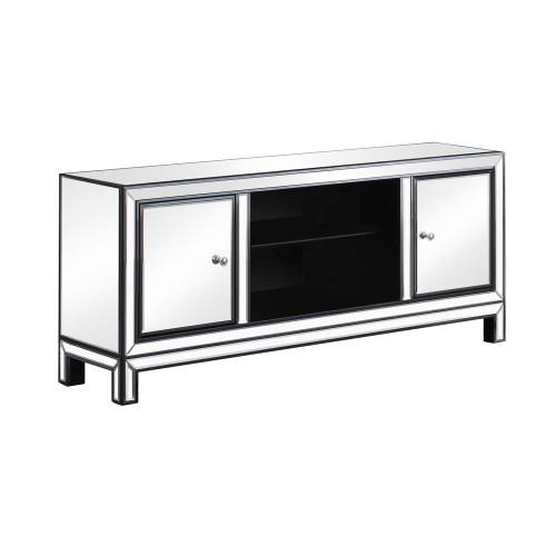 2-door Tv Console Black Titanium And Silver