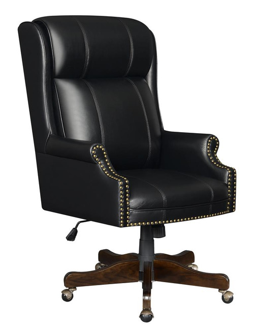 Black - Upholstered Office Chair With Casters Black And Dark Cherry