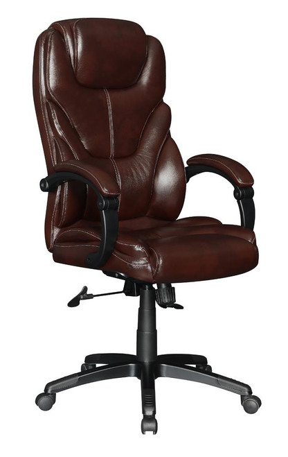 Brown - Upholstered Curved Arm Office Chair Brown And Black
