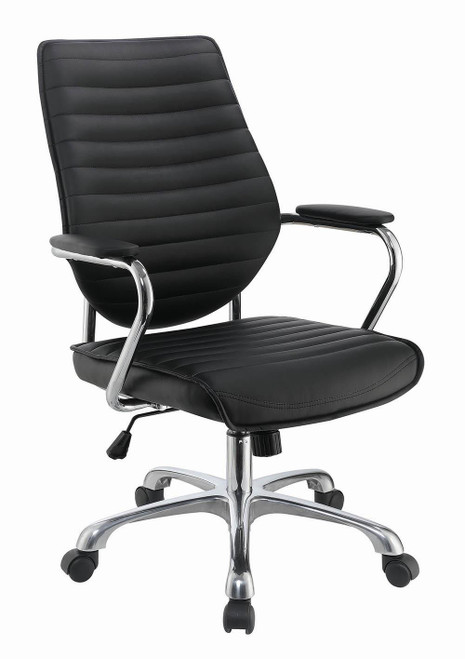 Black - High Back Office Chair Black And Chrome