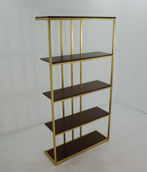 4-tier Metal Frame Bookcase Matte Brass And Cherry