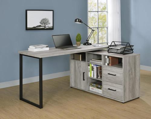 Hertford L-shape Office Desk With Storage Grey Driftwood