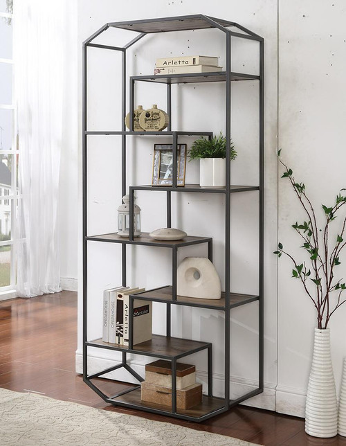 6-shelf Bookcase Rustic Brown And Dark Grey