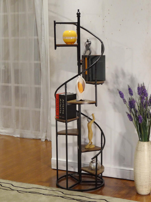 8-shelf Staircase Bookcase Rustic Brown And Black