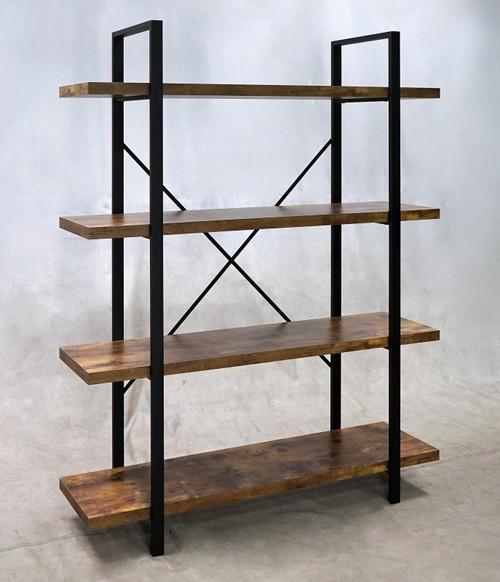 4-shelf Bookcase Antique Nutmeg And Black