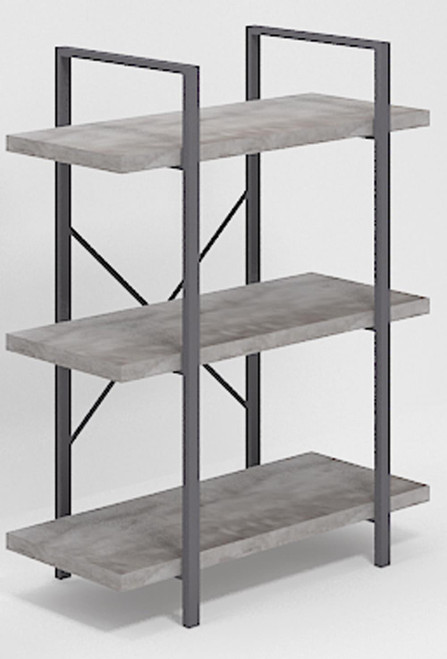 3-shelf Bookcase Grey Driftwood And Gunmetal