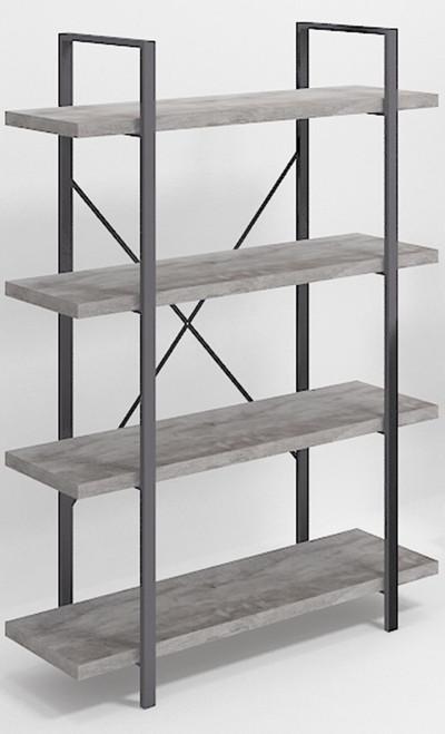 4-shelf Bookcase Grey Driftwood And Gunmetal