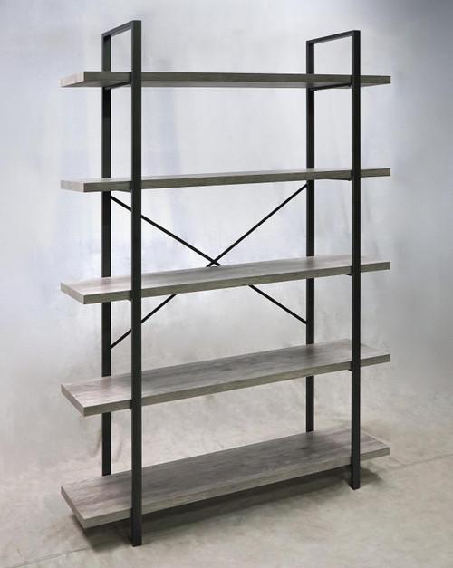 5-shelf Bookcase Grey Driftwood And Gunmetal
