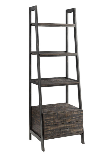 Delmar 2-drawer Bookcase Burnished Cognac And Weathered Gunmetal