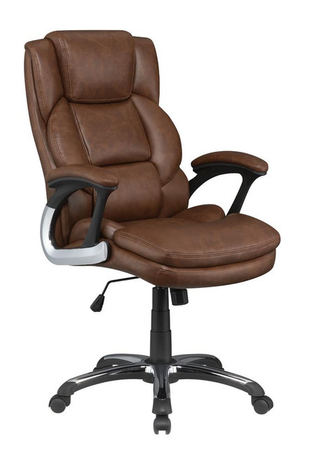 Brown - Adjustable Height Office Chair With Padded Arm Brown And Black