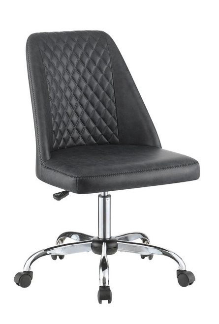 Grey - Upholstered Tufted Back Office Chair Grey And Chrome