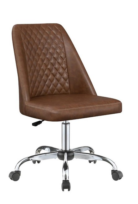 Brown - Upholstered Tufted Back Office Chair Brown And Chrome
