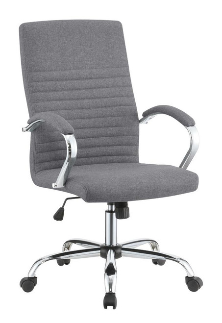 Grey - Upholstered Office Chair With Casters Grey And Chrome