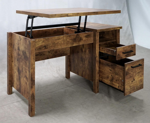 Delwin Lift Top Office Desk With File Cabinet Antique Nutmeg