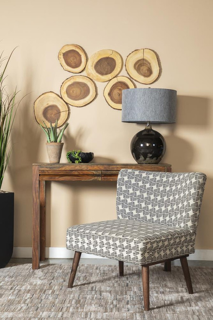 Accents : Chairs - Black - Upholstered Accent Chair With Wooden Leg Black And White