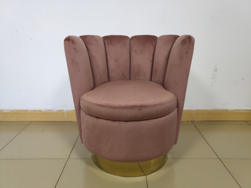 Rose - Channeled Tufted Swivel Chair Rose And Gold