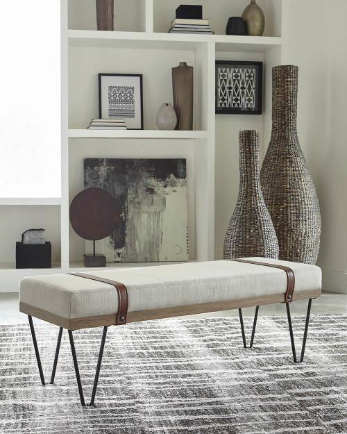 Beige - Upholstered Bench Beige And Black
