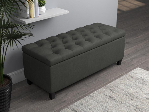Accent : Benches & Ottomans - Charcoal - Lift Top Storage Bench Charcoal